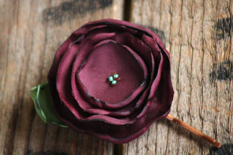 deep, rich burgundy - a cute little flower bobby pin - pair