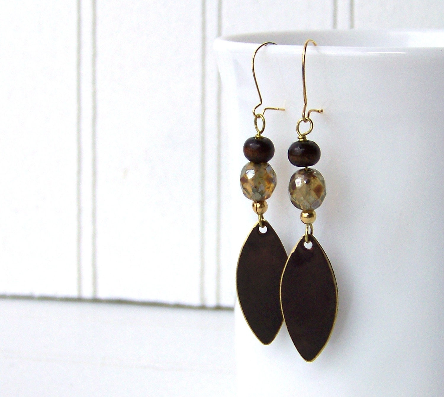 brown dangle earrings, brass wood and glass, handcrafted - NobleEarthJewelry