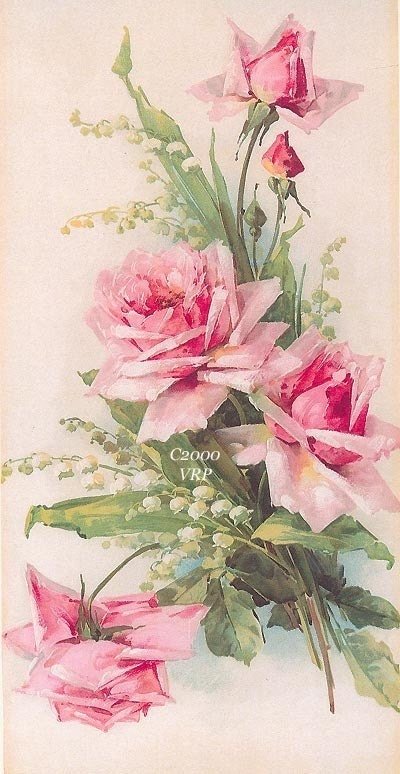 PRINT Pink Roses Lily Valley ROSE C. Klein Vintage Victorian Antique Art Lithograph Illustration Photo