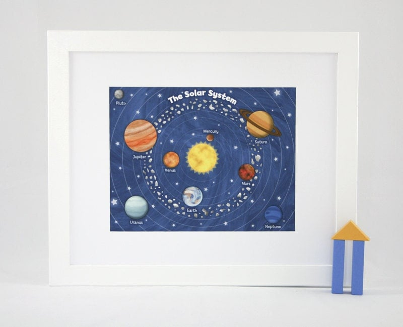 Outer space solar system 11 x 14 fine art print by krankykrab for Outer space childrens decor