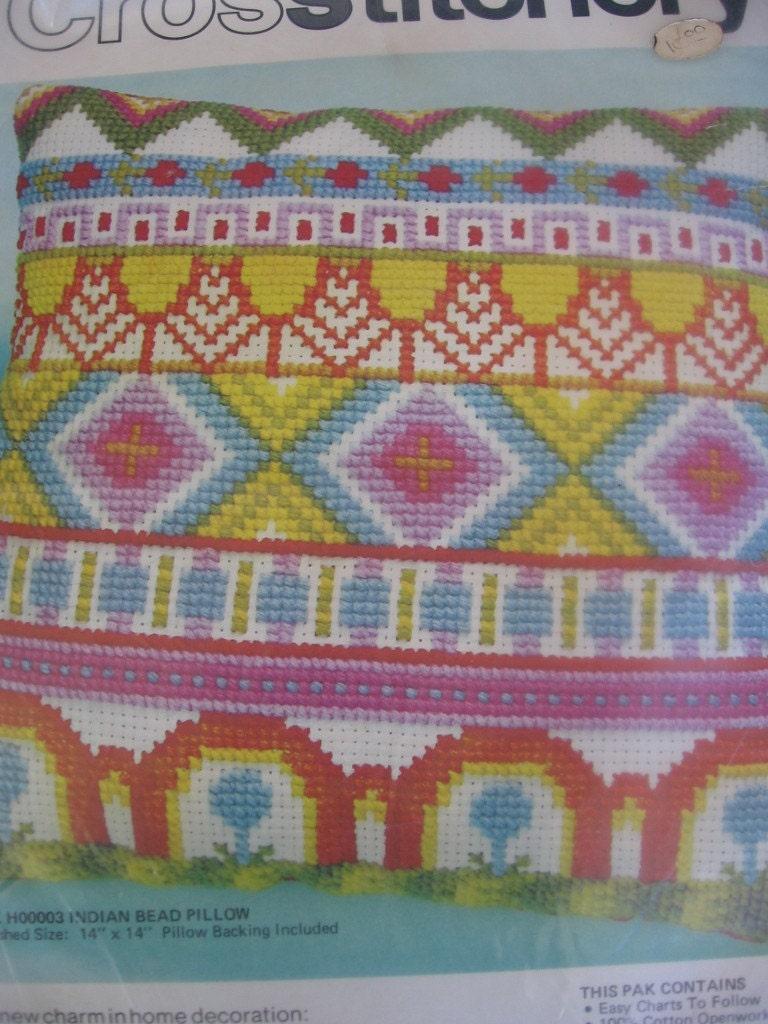 Vintage Bernat Cross Stitchery Pillow Kit Still New In Bag