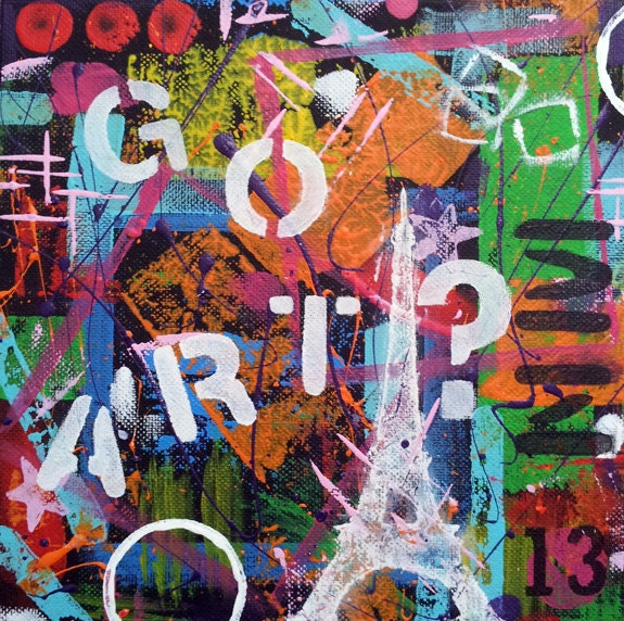 GOT ART?, Original Abstract Art, Urban Art, 8x8 Canvas Panel, Acrylic Painting, Wall Art Decor, Eiffel Tower, Artwork - NatsExoticCreations