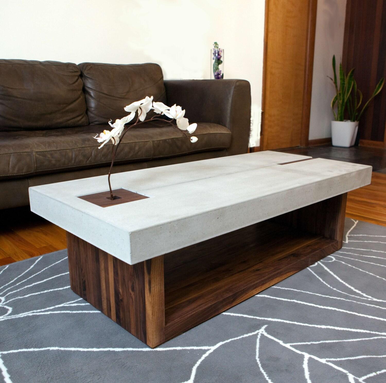 Votive Coffee Table Walnut Concrete Glass By TerraFurniture