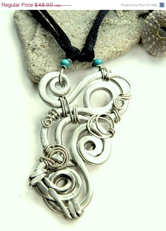 SALE Looped Spiral Pendant and Turquoise Bead Black Cord Necklace (P1224)