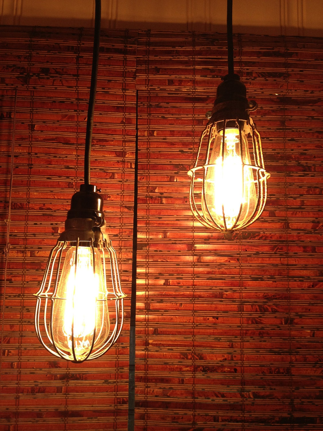 Upcycled Industrial Pendant Light Pair, Vintage Cage Lights - SALE