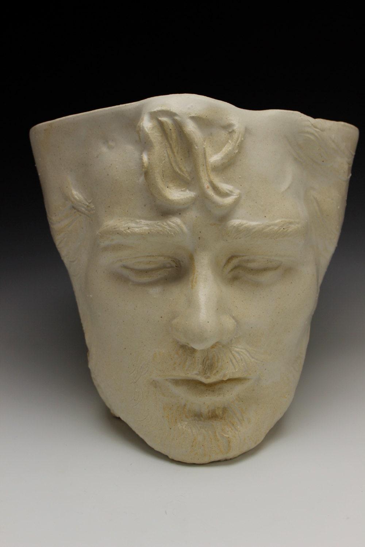 Face Planter Head Of A Bearded Man White Vessel By Adrienart