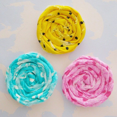 Rolled Fabric Flower Rosettes Set of Three