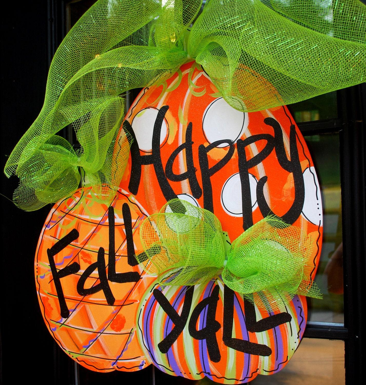 fall door hanger pumpkin door decoration fall by. Black Bedroom Furniture Sets. Home Design Ideas
