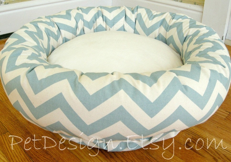 Med - Dog Bed - Chevron Dusty Blue & Cream with Soft Minky Fleece - Washable Cover