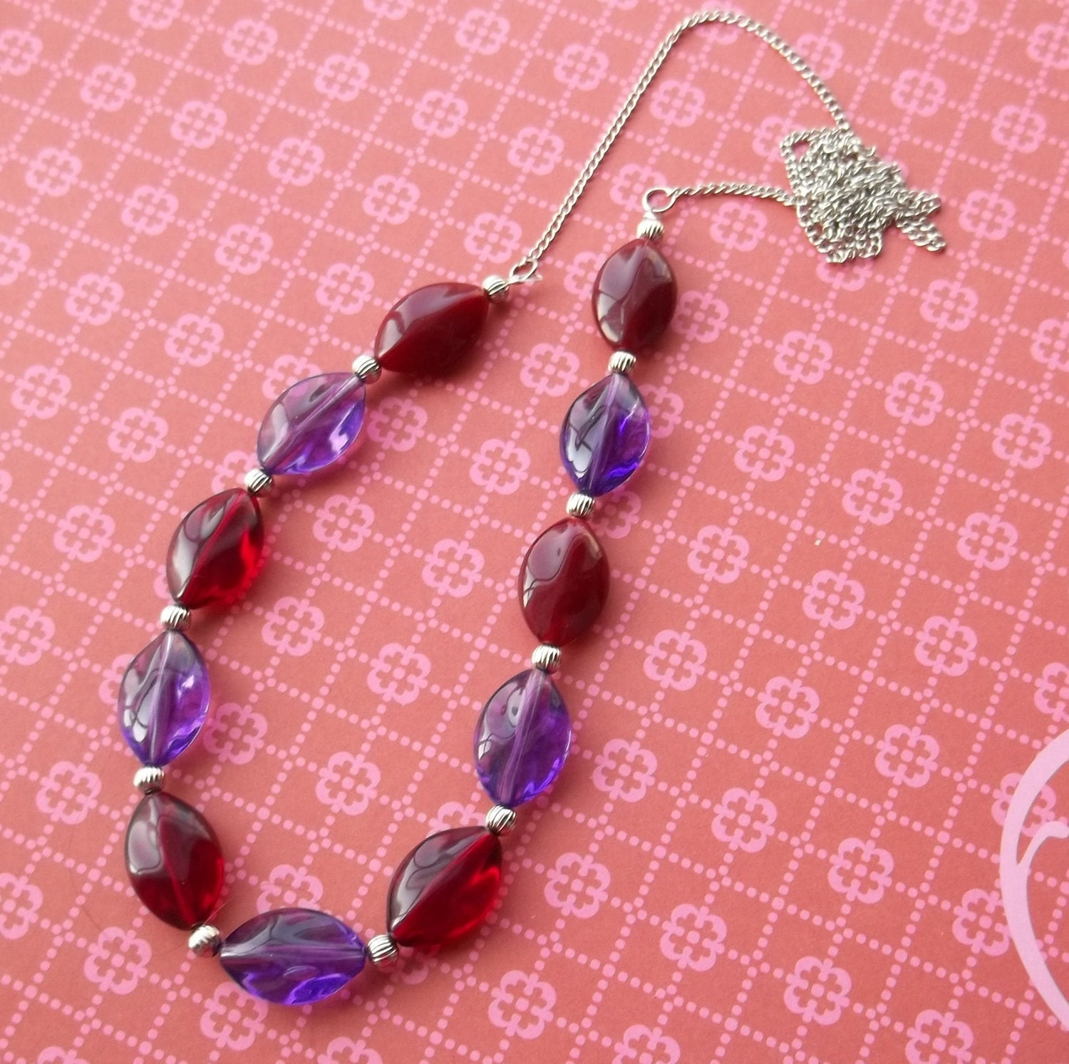 Purple and Red Beaded Chain Necklace