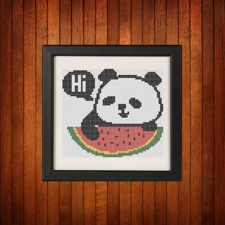 Вышивка крестиком панды 67