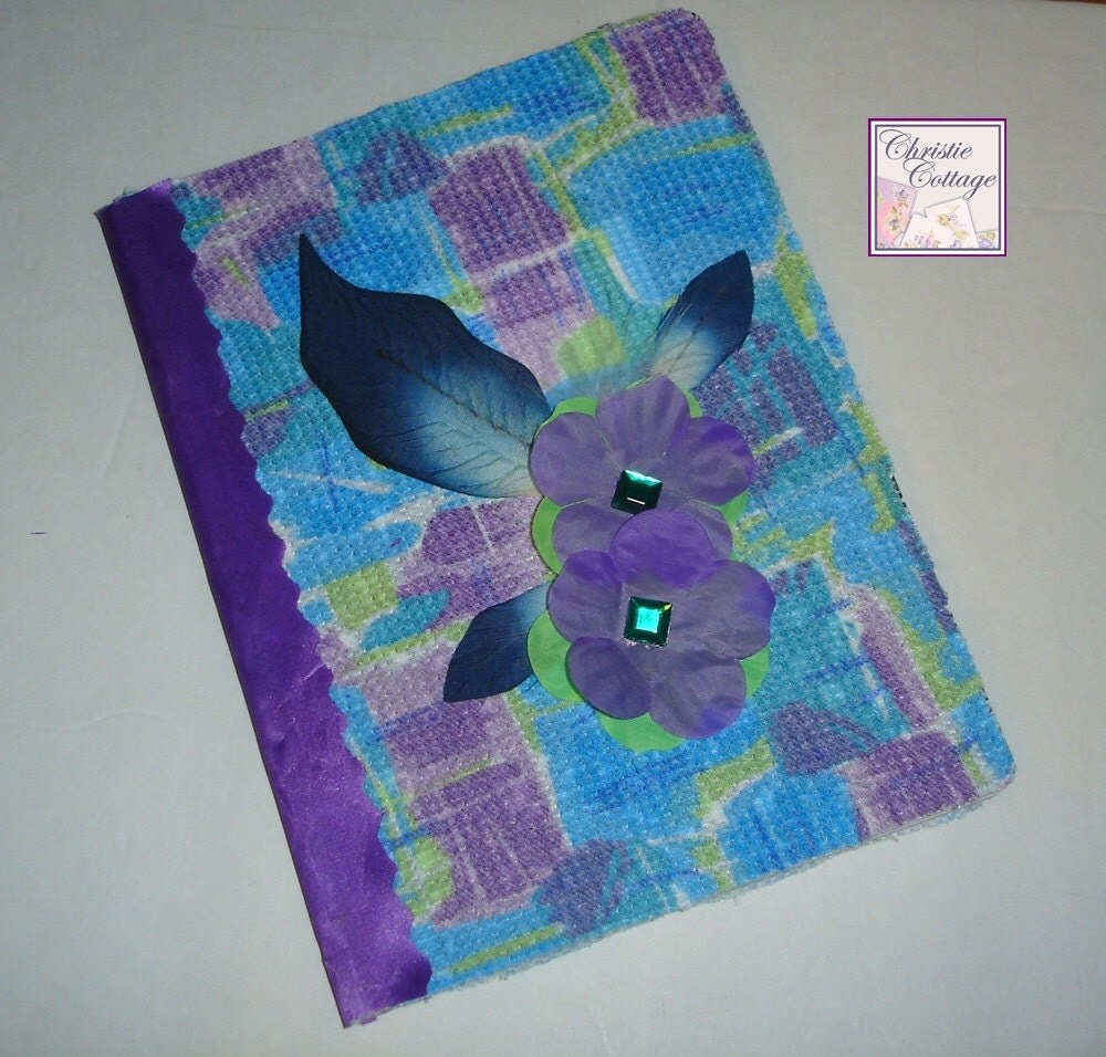 Altered Journal, Aqua, Teal, Green, Purple, Flowers, Sparkling Gems, Feather