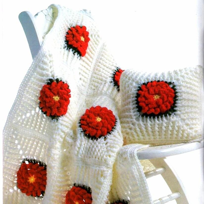 Vintage Large Flower Afghan Crochet Pattern and Pillow PDF Download - alittleyarnshop