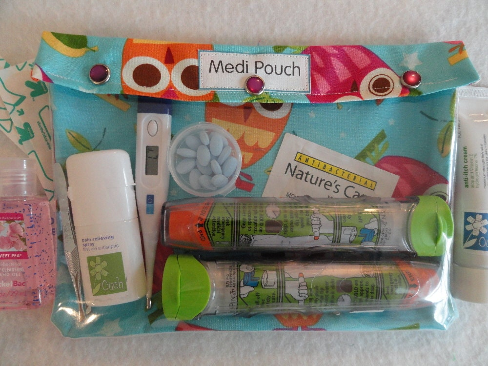 XL Medi - Pouch Clear Travel Organizer for Medications Inhaler EpiPens Diabetes Testing First Aid Diapers (7x9 Aqua Owls Fabric)