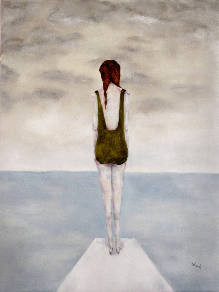 "Summer swimming art modern figurative girl art print ""Maritime"" ocean and sea - inapaleplace"