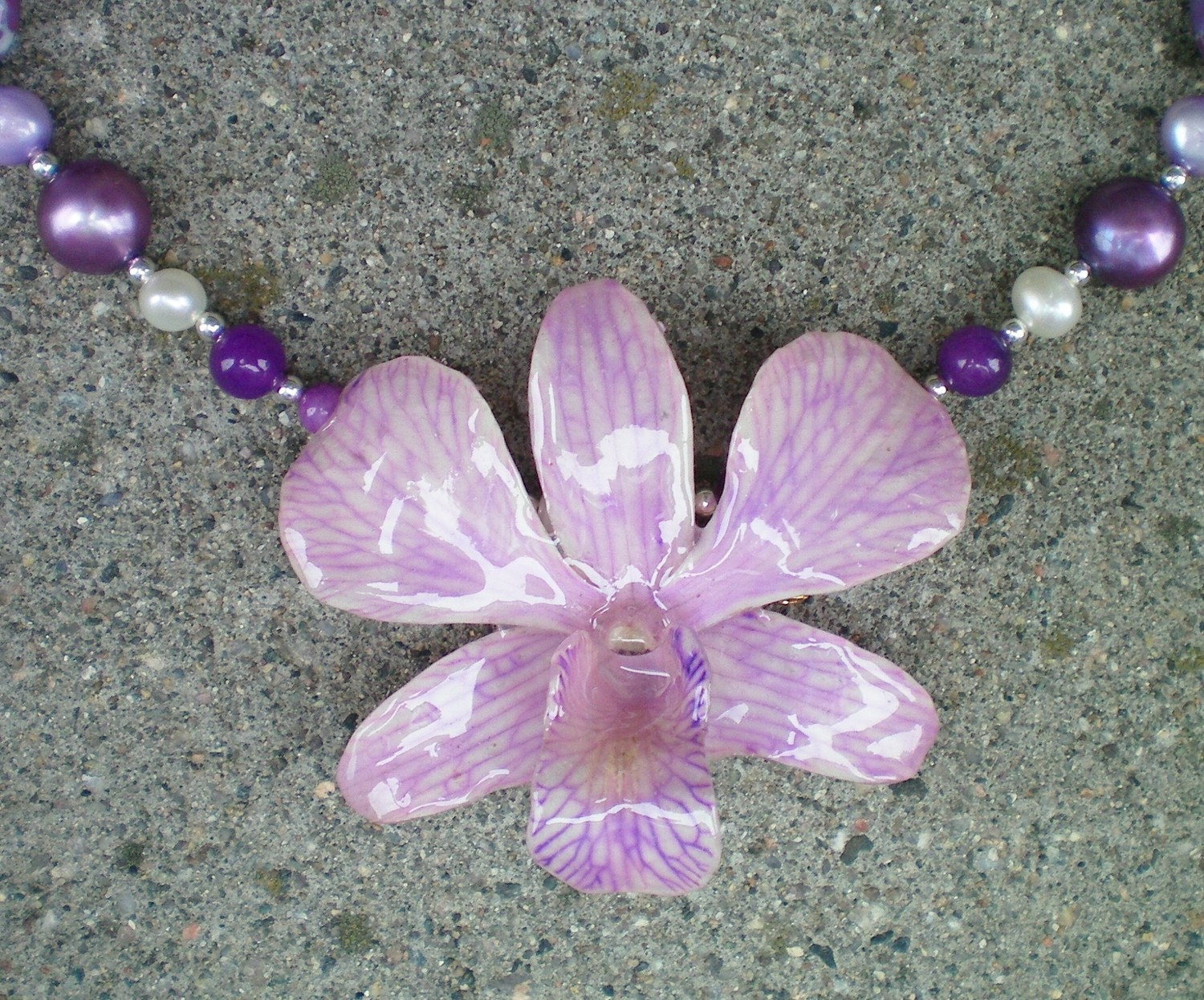 REAL NATURAL LILAC ORCHID and PEARL, AGATE, JADE STERLING Necklace