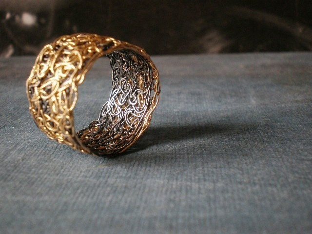 Black gold lace - crochet ring - size made to order