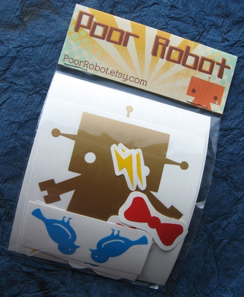 Gold Robot Vinyl Sticker Play Set