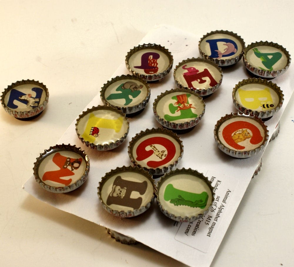 Children's Animal Alphabet Upcycled Bottle Cap Magnet 26 Piece Set M15