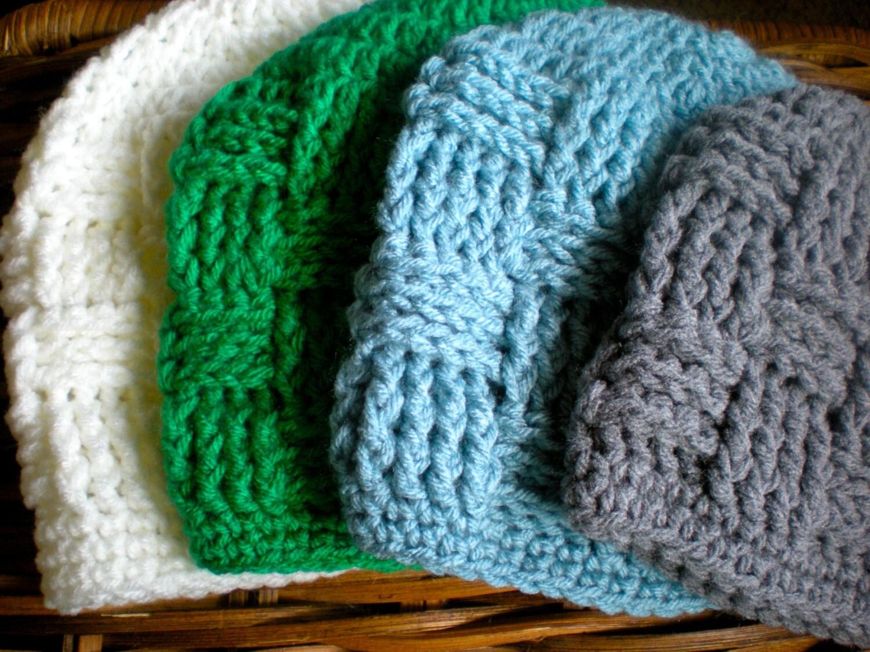 Basket Weave Crochet Patterns Free : Pattern triscuit hat basket weave beanie woven easy by