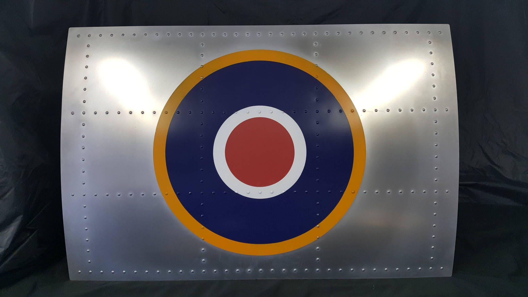 Aviation Art  WW2 RAF Type C1 Roundel on Natural Finish Aluminium  Wall Art Light
