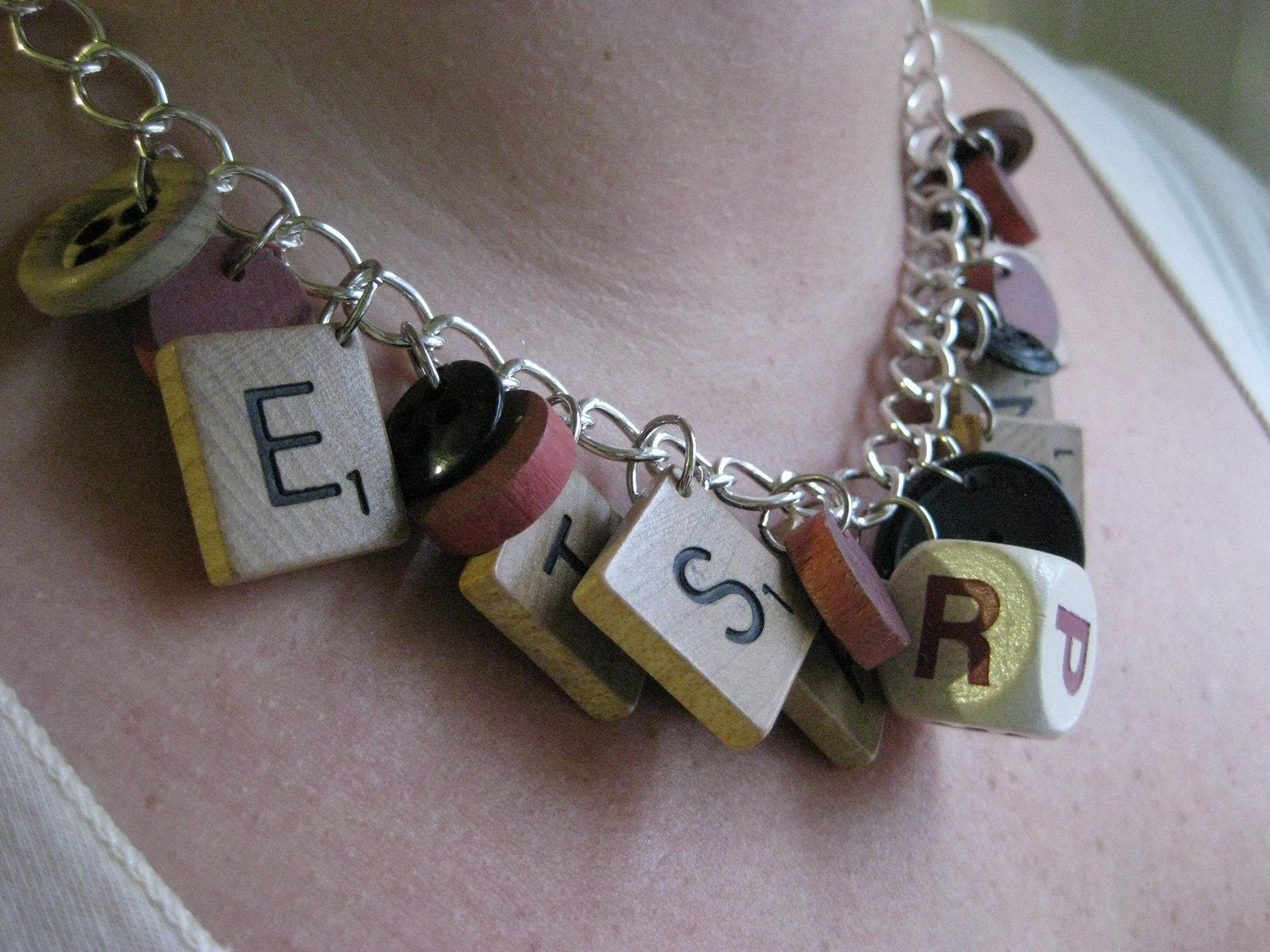 Recycled Rustic Wooden Game Piece Necklace. Scrabble, Button, Dice
