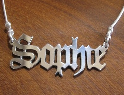 Great Personalized name necklace in Old English Gothic Style with Snake chain