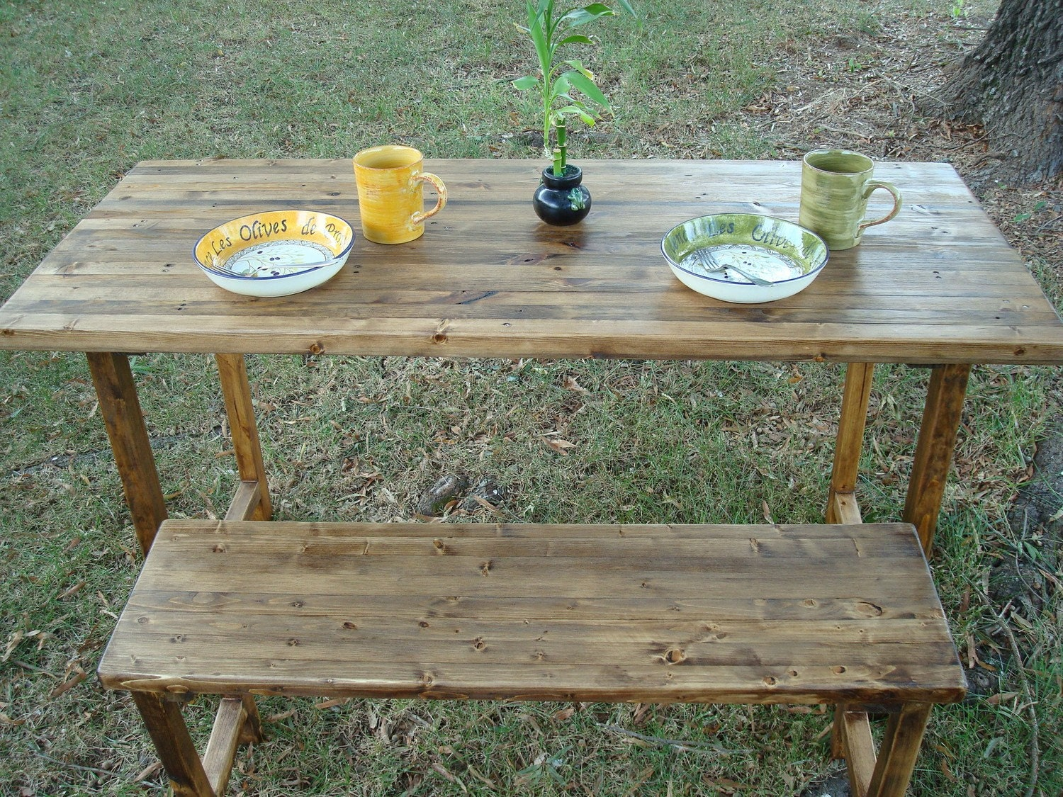 Reclaimed Wood Table and Bench
