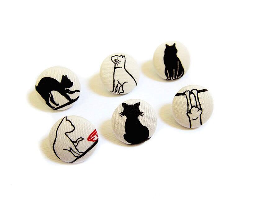 Ткань Крытые нажатием на кнопку Pins - Неторопливо Кошки