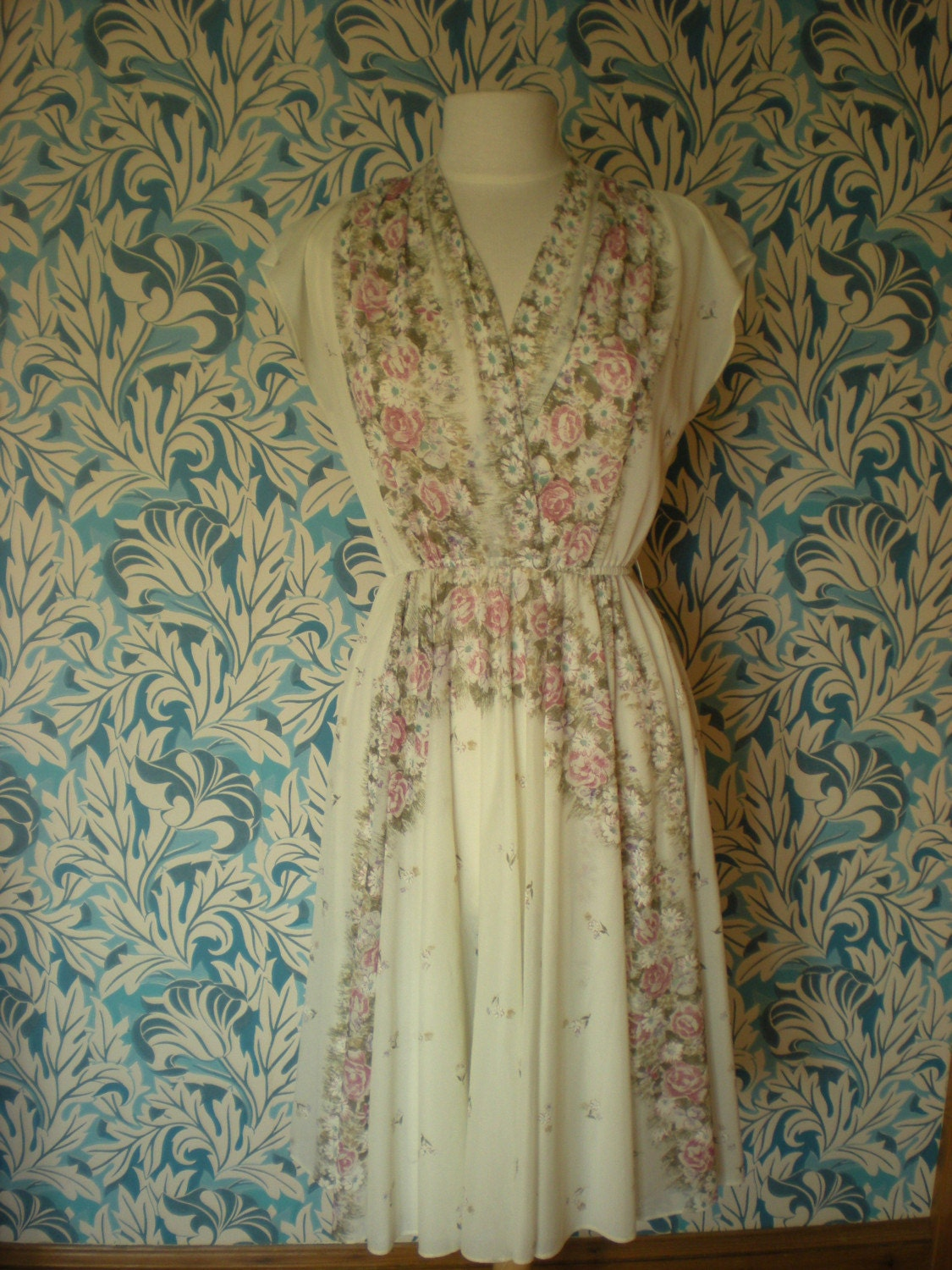 cream floral chiffon dress