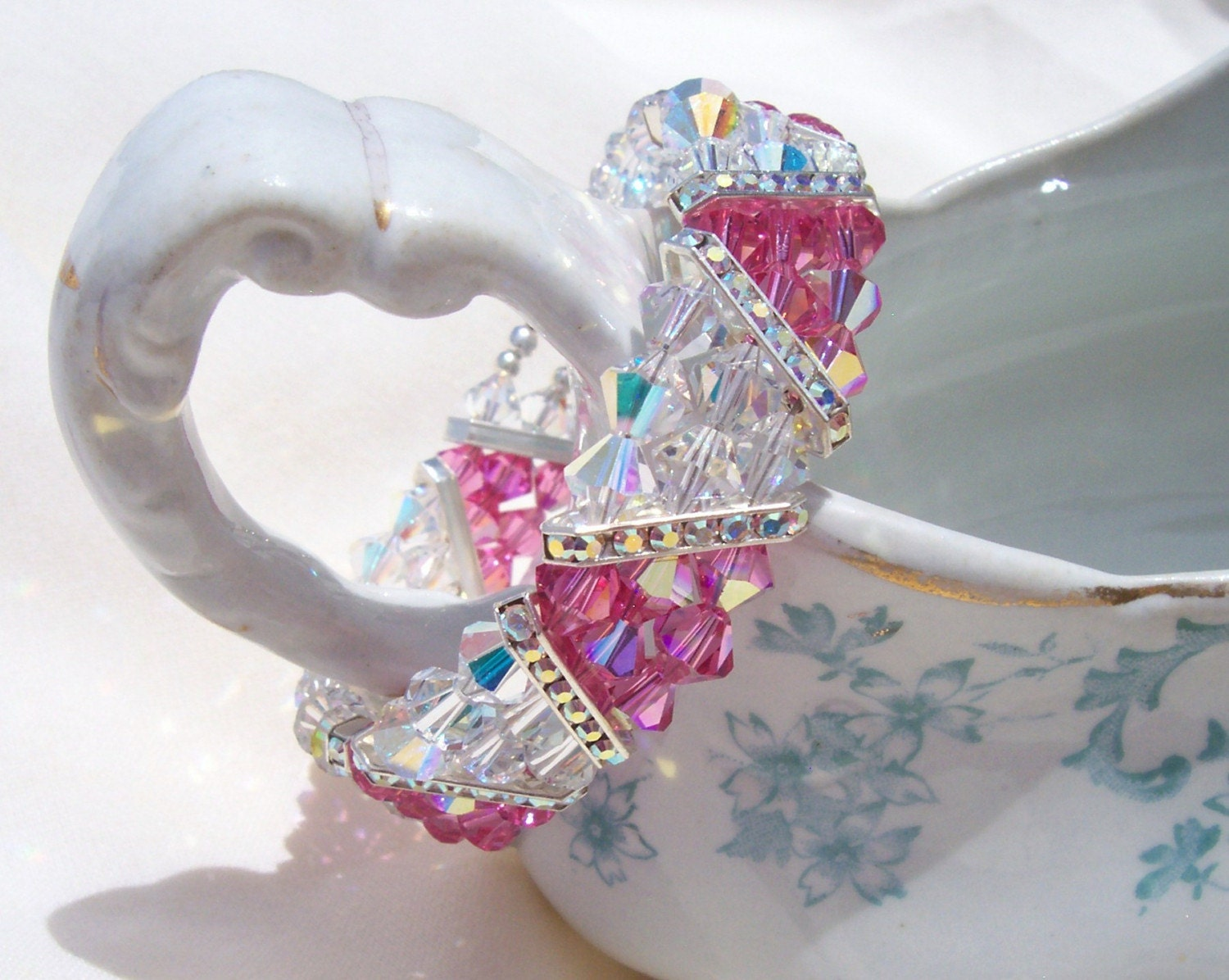 Swarovski Crystal Pink and Crystal 3 Strand Triangle Beauty - free shipping - Bare Moose