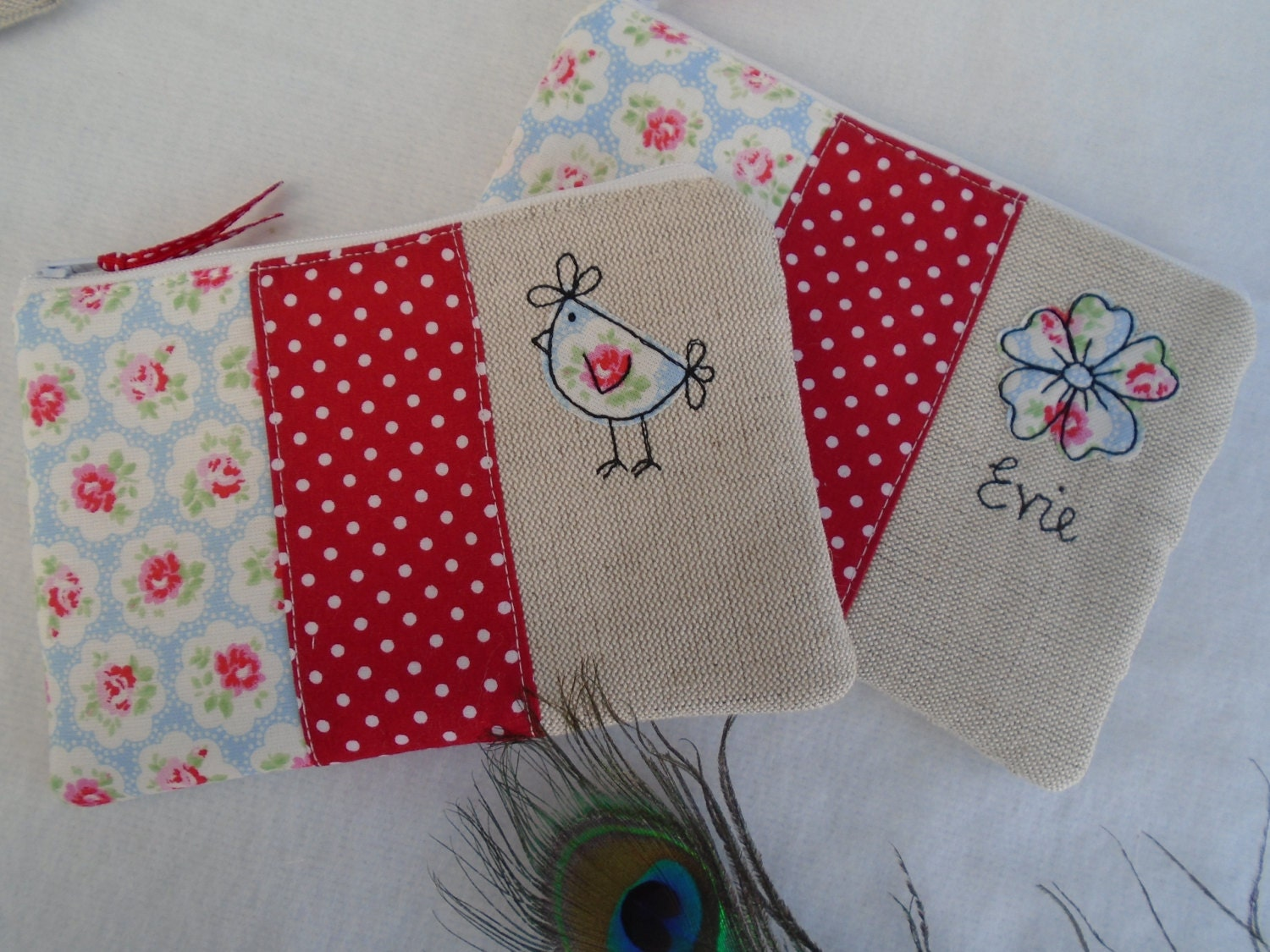 Handmade Cosmetic Makeup Bag or Purse with choice of design and option to personalise Choice of Hen or Flower Design Cath Kidston fabric