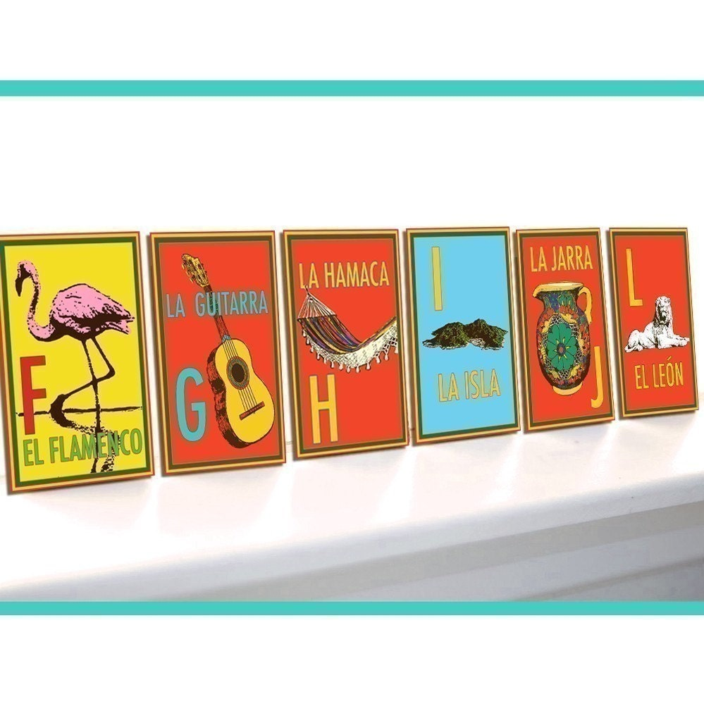 BIBITTY SPANISH ALPHABET SET of 26 LETTERS-NOW IN LARGER 5X7 SIZE