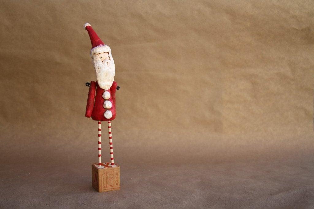 Santa-Unique Holiday Figurine- Modern Vintage Folk Art