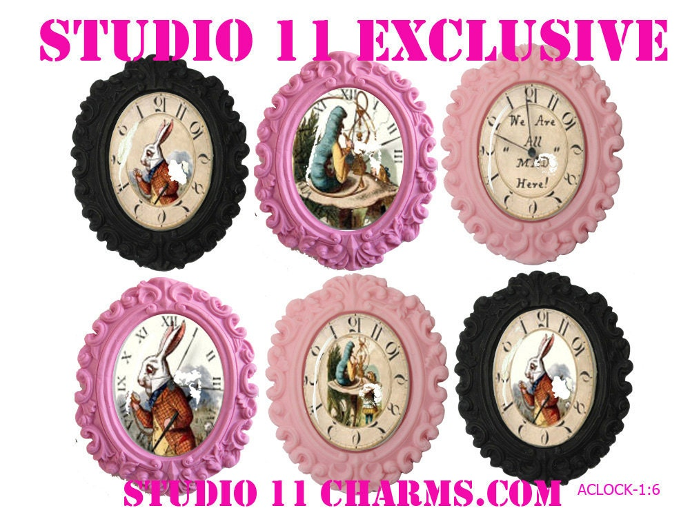6 pcs. (40x30mm oval) Alice in Wonderland Backward Clock Cameo Cabochons Pendant Charms. Vintage Inspired. A-1:6