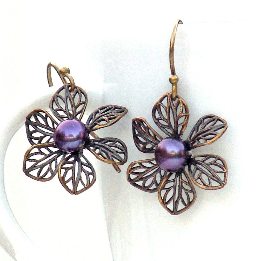 Earrings Pinwheel Flower Dangle Metal by Catherine Jeltes as galleryzooartdesigns on Etsy from etsy.com