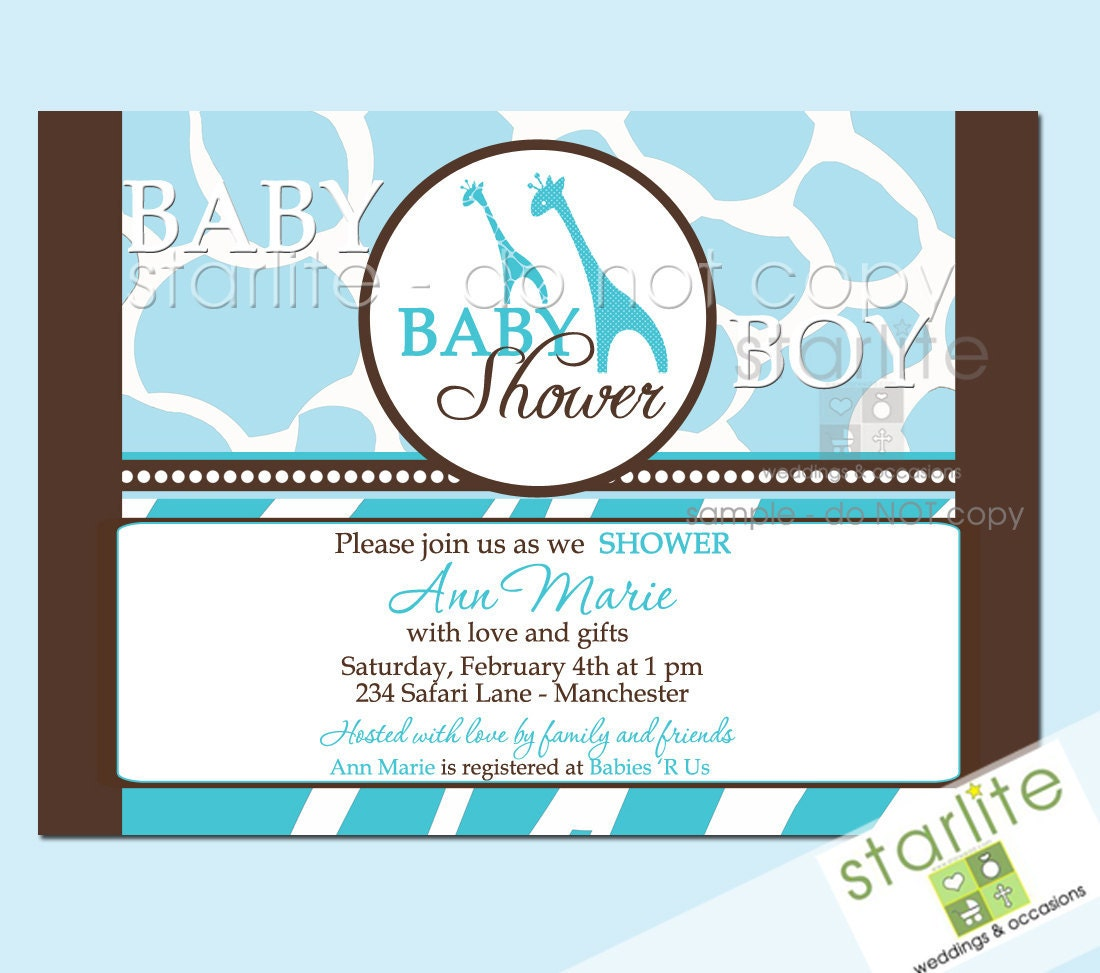 baby shower invitations wild safari blue style 2 by starwedd