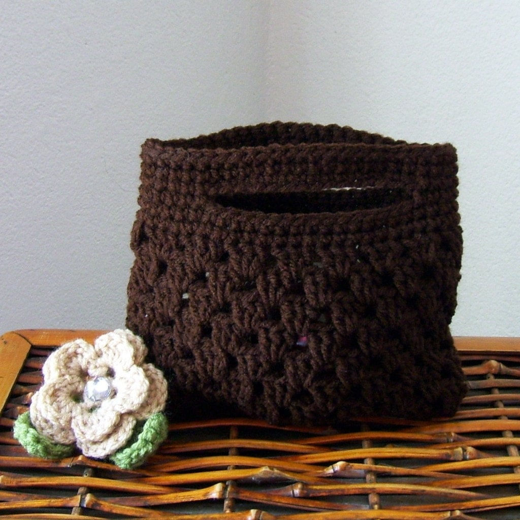 Use code FRENZYSPECIAL for 25% OFFCrocheted Coffee Clutch  Purse with Removable Buff Crochet Flower, Gem Button Center