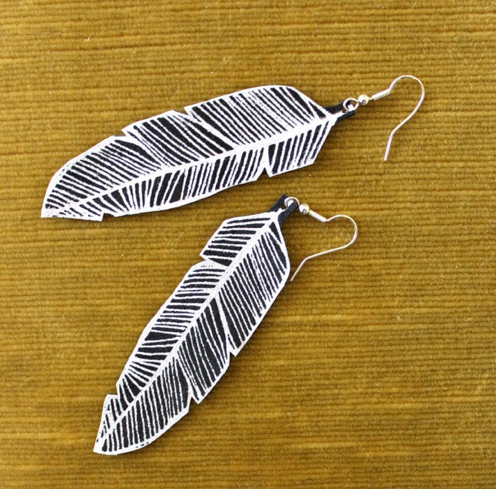 Screen Printed Leather Earrings-Black and Silver Feather