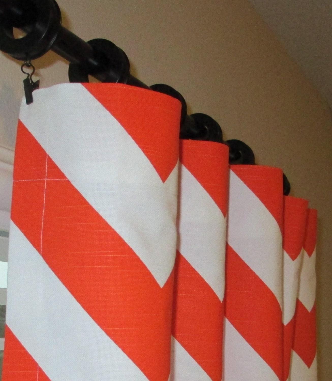 Pair of Orange and White Zig Zag Chevron Curtains by SewPanache