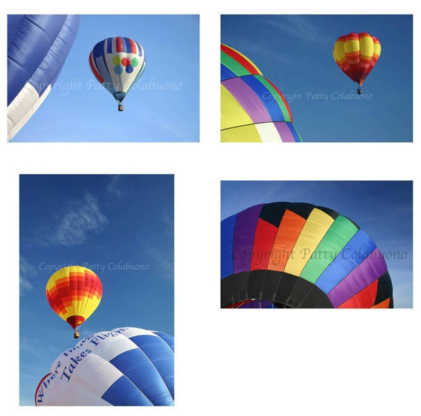 Photo Note Cards, Hot Air Balloons, Set of 4, Fine Art Photography