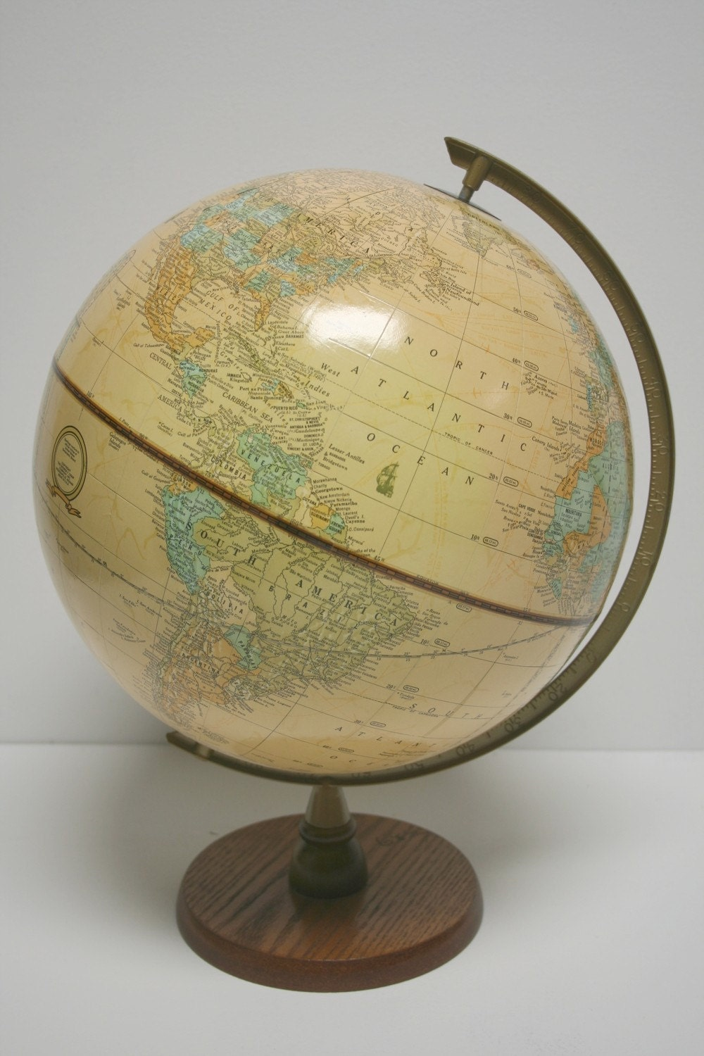 Vintage Raised Relief Wood and Metal World Globe