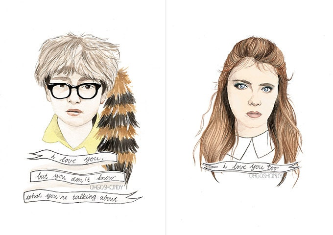 Moonrise Kingdom Suzy and Sam watercolour portraits PRINT
