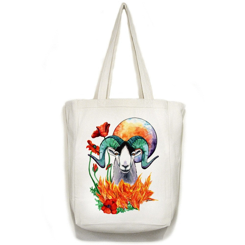 ARIES Zodiac Sign Open Top Canvas TOTE Bag