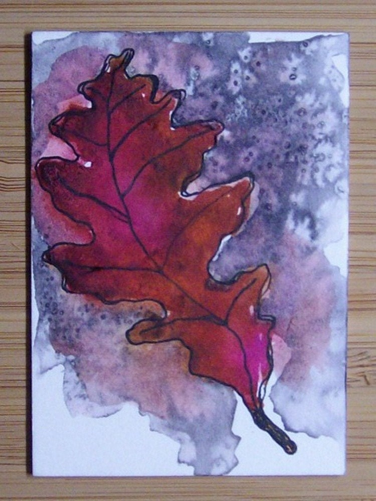 ACEO Oak Leaf Watercolor