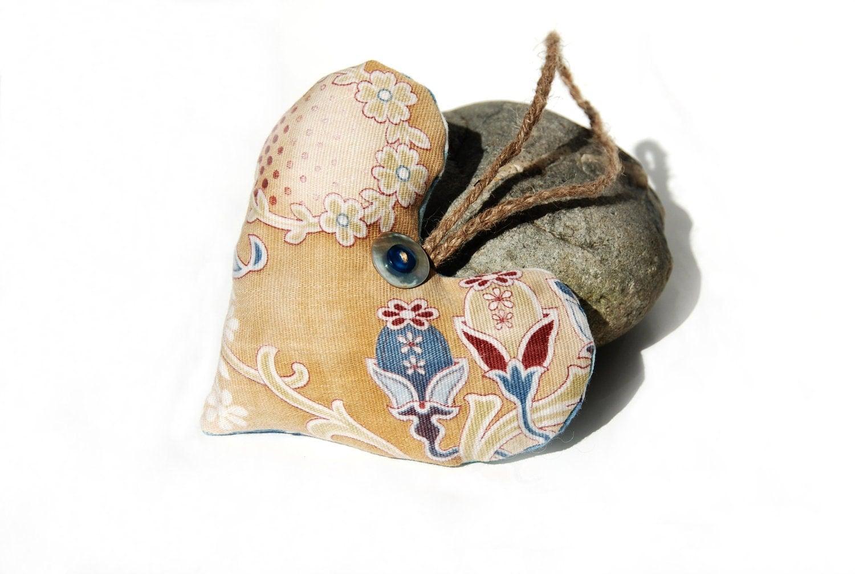 Art Nouveau Tan Blue Heart French Ticking Lavender Sachet - KellinaDesigns