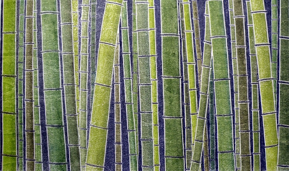 Bamboo Forest II (original white line woodcut)