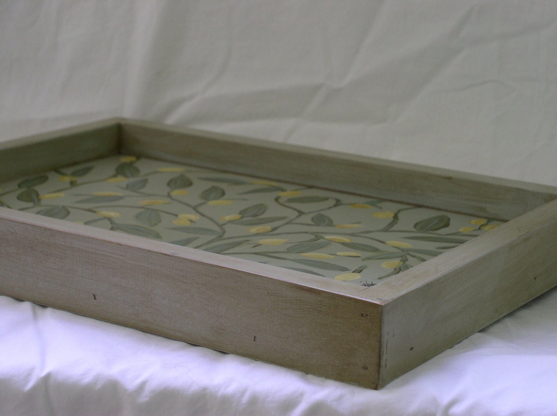 Cottage Style Shabby Chic Hand Painted Wood Serving Tray