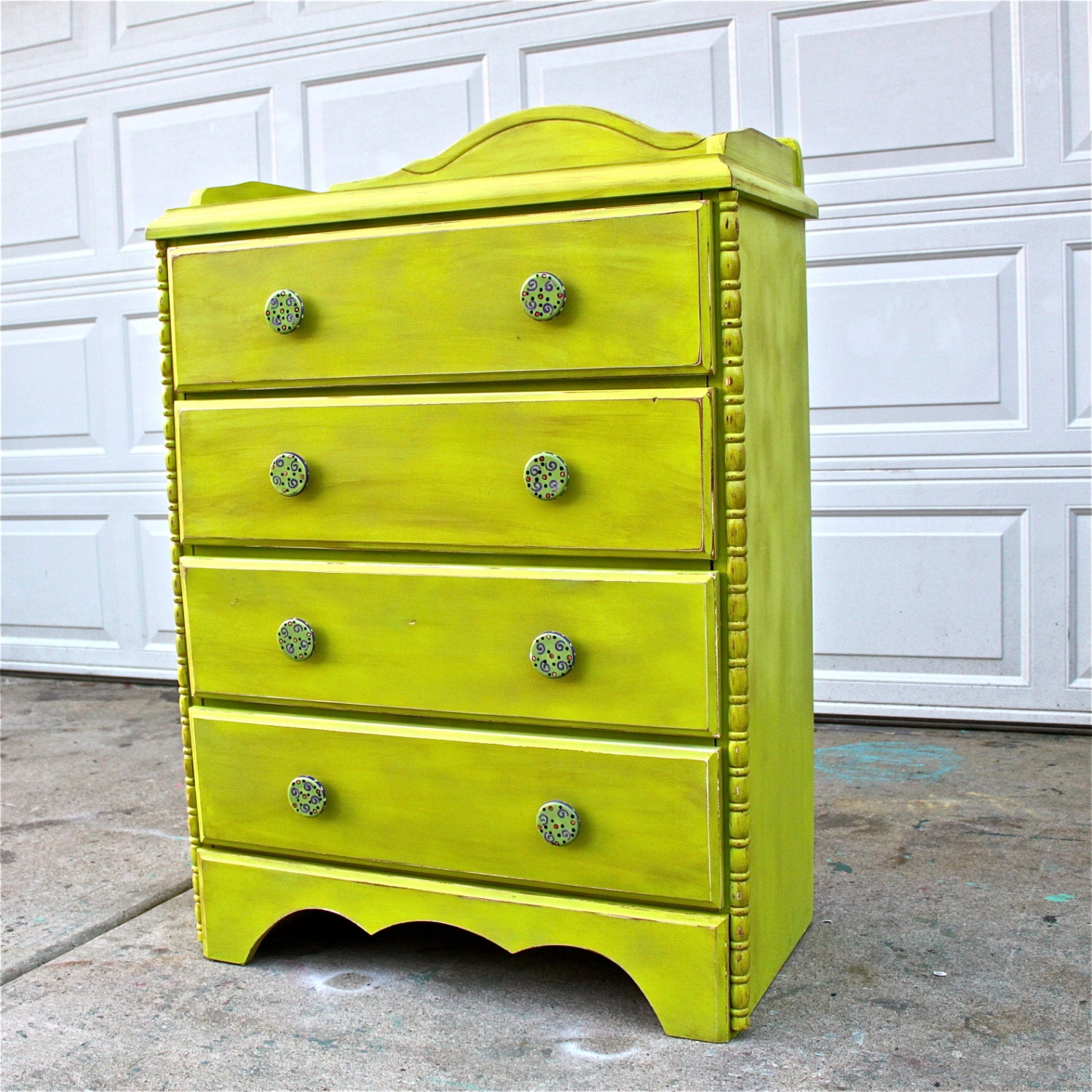 Reserved lime green chest brown glaze by aquaxpressions for Lime green bedroom furniture