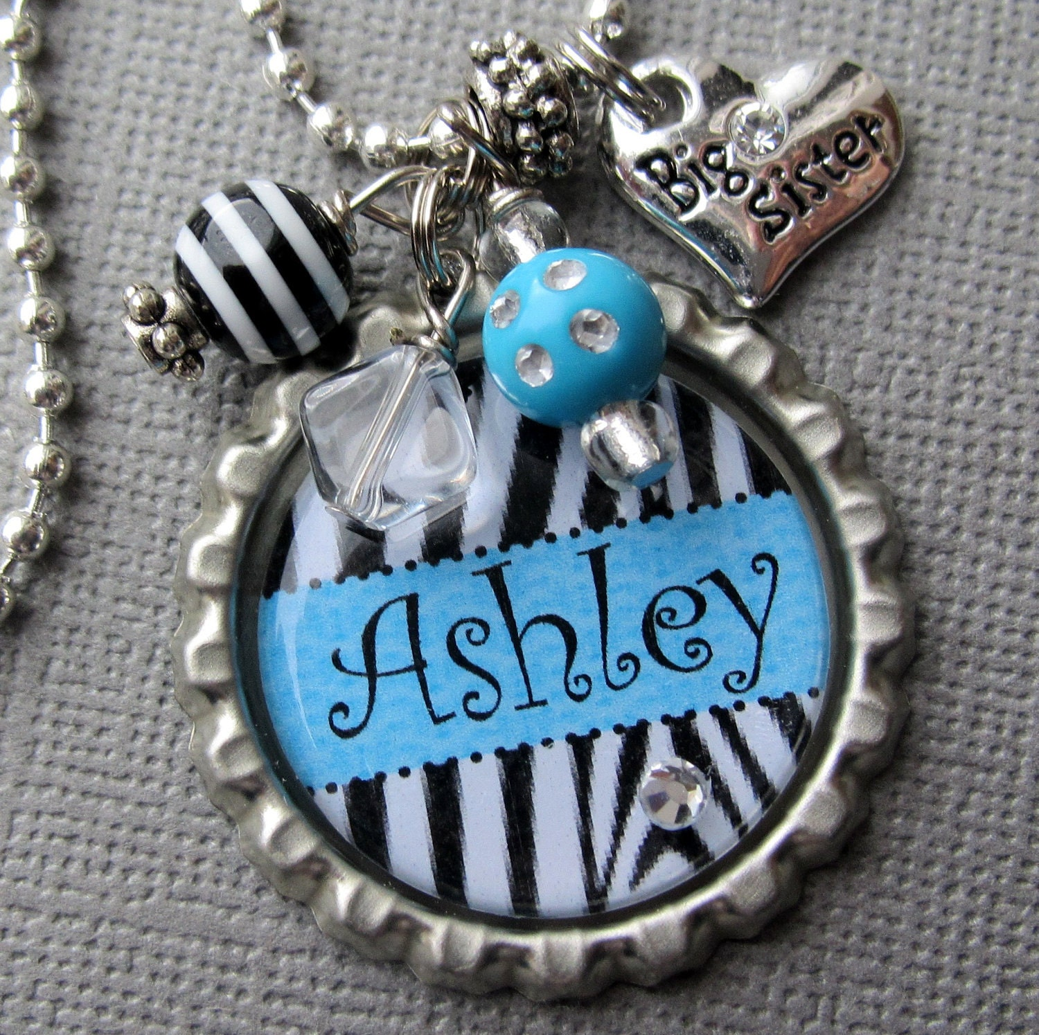 Big Sister PERSONALIZED NAME Zebra Bottle Cap Necklace - Little Sister, Valentine, Birthday Gift, Sister Gift, baby shower, heart charm